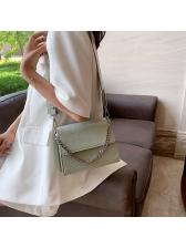 Stone Grain Solid Color Removable Chain Shoulder Bag