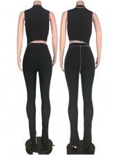 Irregular Cutting Solid Skinny Two Piece Pants Set