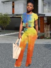 Colorful Tie Dye Trendy 2 Piece Straight Pants Set
