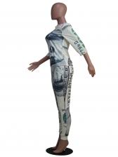 Dollar Print Half Sleeve Two Piece Pants Set
