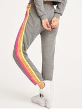 Contrast Color Casual Two Piece Pants Set