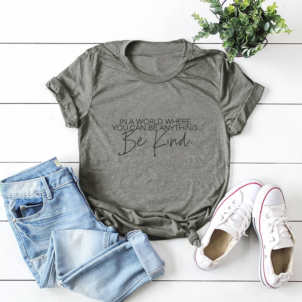 Simple Style Letter Printed T Shirt Plus Size