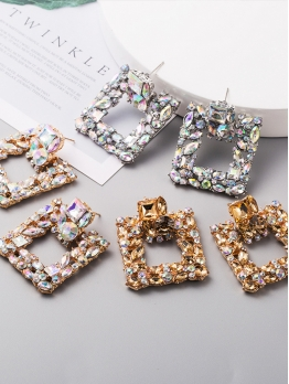 Retro Easy Match Rhinestone Square Creative Earrings