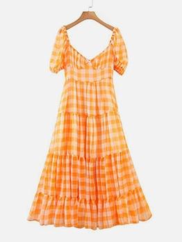 French Style Short Sleeve Plaid Chiffon Maxi Dress