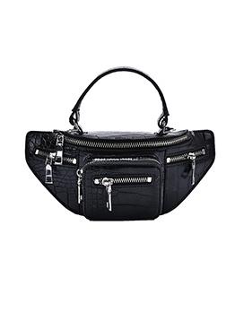 Multiple Zippers Crocodile Print Trendy Crossbody Bags