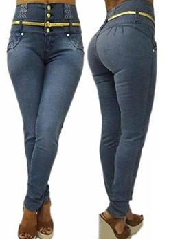 High Waist Elastic Skinny Hip Jeans For Women