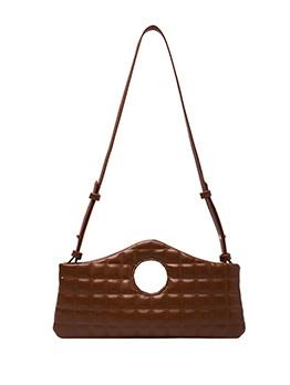 Irregular Shape Solid Color Lattice Pattern Shoulder Bag