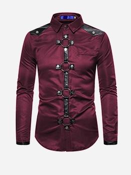 Fashion Rivet Patchwork Long Sleeve Shirts