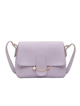 Versatile Style Pure Color Pu Shoulder Bag For Women