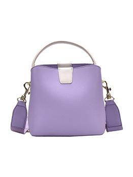 Removable Wide Belt Solid Color Bucket Shoulder Bag