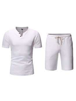 Plain Short Sleeve Two Piece Mens Activewear