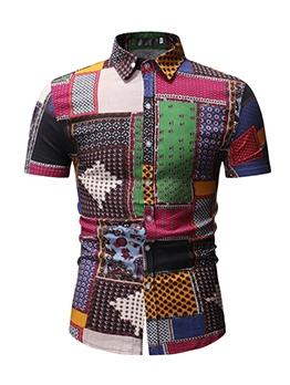 Color Block Print Short Sleeve Shirts For Men