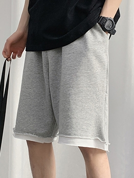 Simple Fake Two-Piece Loose Half Pants
