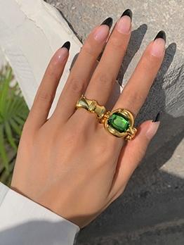 Green Rhinestone Bamboo Knot Women Exaggerated Ring