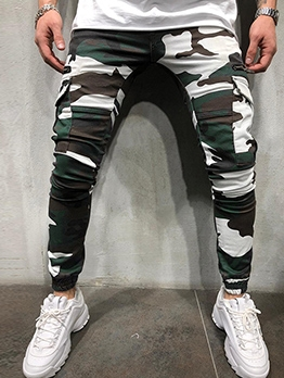 Camouflage Zipper Patch Jogger Pants