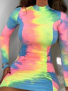 Mock Neck Tie Dye Long Sleeve Bodycon Dress