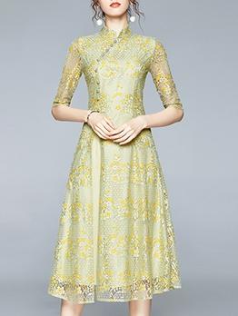 Cheongsam Style Stand Neck Green Half Sleeve Lace Dress