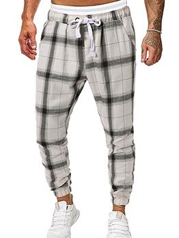 Leisure Wear Drawstring Men Plaid Pants