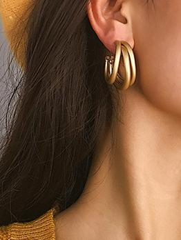 Multiple C-Shape Circle Solid Color Women Hoop Earrings