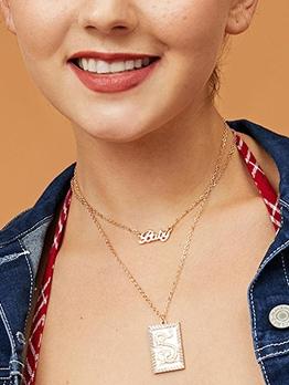 Square Dragon Pendant Double Layers Vintage Necklace