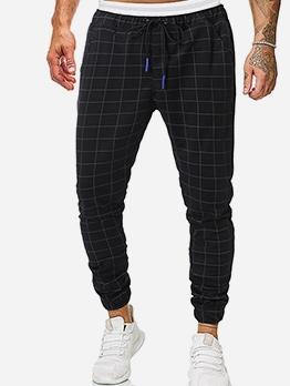 Fashion Mid Waist Drawstring Plaid Pants