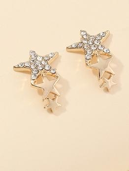 Pentagram Tiny Rhinestone Daily Wear Stud Earrings