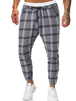 Mid Waist Plaid Casual Pants For Men
