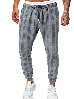 Trendy Drawstring Mid Waist Plaid Jogger Pants