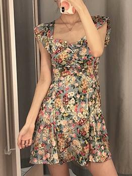 Satin Flower Printed Backless Summer Dresses