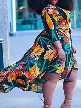 V Neck Printed Plus Size Dresses With Belt