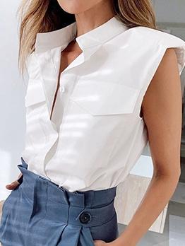 Padded Shoulders Sleeveless White Blouse