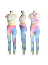 Euro Tie Dye Sleeveless Fitness Yoga Set For Women