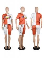 Plus Size Color Block Print Short Sleeve Women Set Shorts