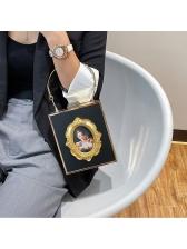 Vintage Style Metal Splicing Box Shape Ladies Handbags
