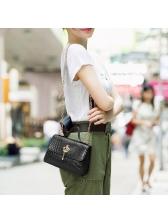 Alligator Print Pure Color Chain Shoulder Bag With Handle