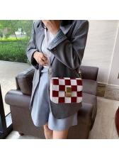 Color Block Woven Removable Strap Trendy Shoulder Bag