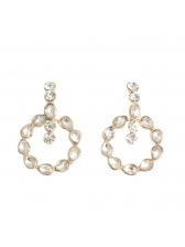 Water Drop Clear Rhinestone Female Circle Earrings
