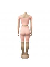 Solid Color Off Shoulder Shorts Co Ord