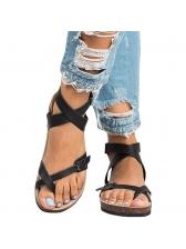 Retro Solid Womens Flat Sandals