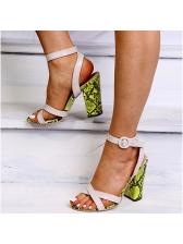 Euro Animal Printed Chunky Heel Sandal