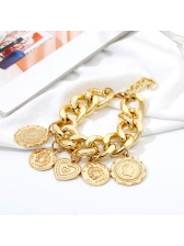 Retro Style Exaggerated Punk Coin Bracelets For Women
