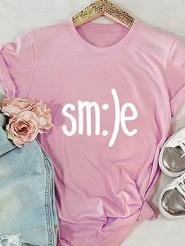 Smile Letter Printing Crew Neck Oversized T Shirt