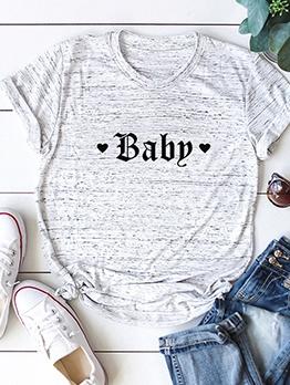 Baby Word Pattern Plus Size Cheap T Shirt