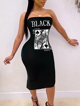 Poker Pattern Letter Bodycon Strapless Dress