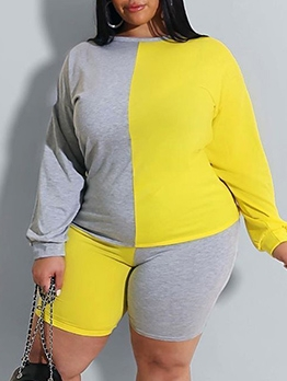 Color Block Plus Size Two Piece Short Set
