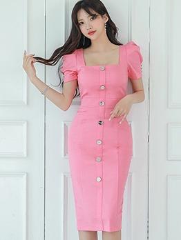 Elegant Single-Breasted Solid Short Sleeve Dress