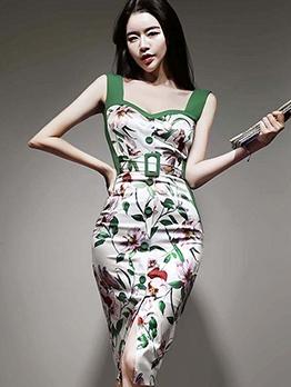 Stylish Patchwork Printed Slit Bodycon Dress