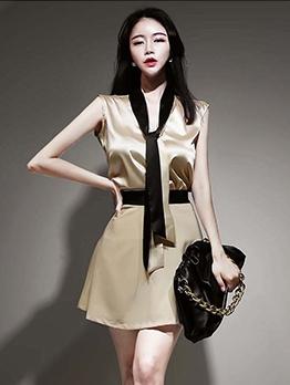 Elegant Contrast Color Top And Skirt Set