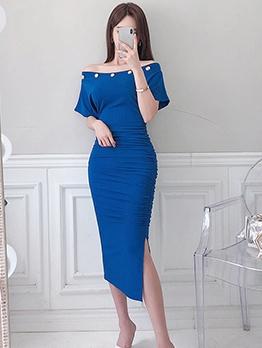 Chic Solid Slit Off Shoulder Dress