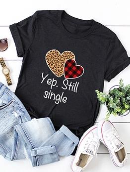 Heart Letter Pattern Plus Sized Women Tee Shirt